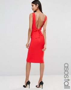 Облегающее платье-футляр миди с бантом сзади ASOS TALL - Красный