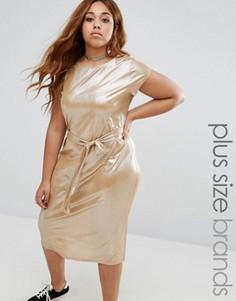 Плиссированное платье с короткими рукавами Alice & You - Золотой