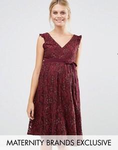 Кружевное приталенное платье для беременных Little Mistress Maternity - Красный