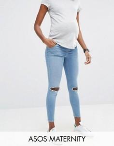 Рваные джинсы скинни для беременных с рваной отделкой ASOS Maternity Ridley - Синий