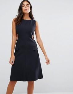 Приталенное платье с вырезами по бокам YMC - Темно-синий