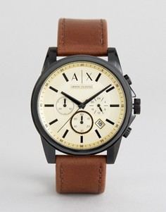 Часы-хронограф с коричневым кожаным ремешком Armani Exchange AX2511 - Коричневый