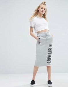 Трикотажная юбка миди с логотипом ASOS - Серый