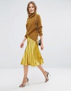 Атласная плиссированная юбка миди Boohoo - Золотой