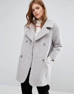 Пушистое двубортное пальто-кокон YMC - Серый