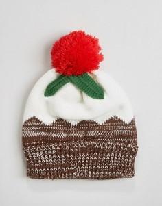 Новогодняя шапка-бини с дизайном под новогодний пудинг 7X - Коричневый