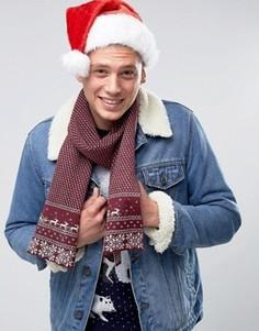 Новогодний шарф с традиционным узором Фэйр-Айл 7X - Красный