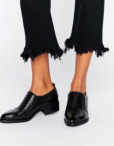 Кожаные туфли в стиле вестерн ASOS MAGNA Premium - Черный