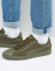 Кроссовки цвета хаки Puma Basket 36316302 - Зеленый
