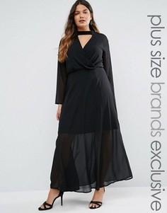Платье макси с длинными рукавами и воротником Truly You - Черный