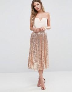 Плиссированная юбка миди с пайетками TFNC - Золотой