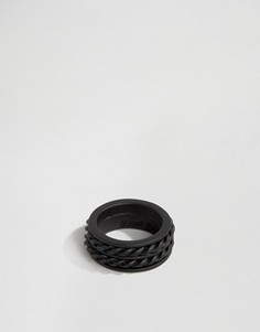 Черное матовое кольцо с отделкой Icon Brand - Черный