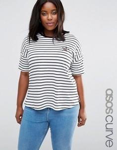Удлиненная футболка в полоску со звездой ASOS CURVE - Мульти