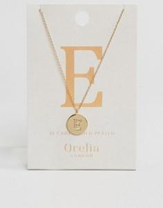 Позолоченное ожерелье с инициалом Е от Orelia - Золотой