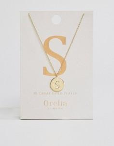 Позолоченное ожерелье с инициалом S от Orelia - Золотой