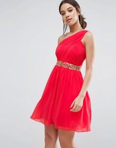 Платье мини с декоративной отделкой талии Little Mistress - Красный