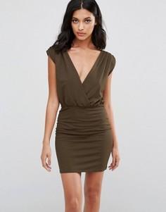 Облегающее платье с запахом Rare - Зеленый