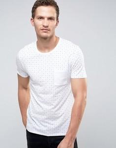 Футболка с принтом и контрастным карманом Selected Homme - Белый