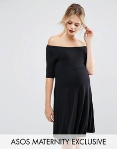 Приталенное платье для беременных с рукавами до локтя ASOS Maternity - Черный