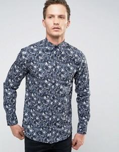 Рубашка узкого кроя с длинными рукавами и камуфляжным принтом Selected Homme - Синий
