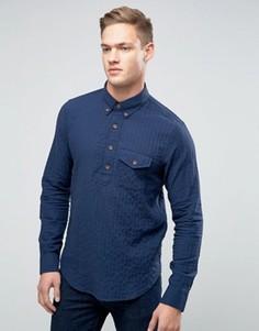 Синяя рубашка через голову с пуговицами и узором в елочку Abercrombie & Fitch - Синий