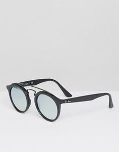 Солнцезащитные очки с серебристыми блестящими стеклами Ray-Ban Gatsby - Черный