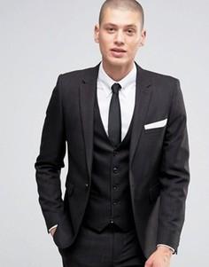 Приталенный меланжевый пиджак Burton Menswear - Черный