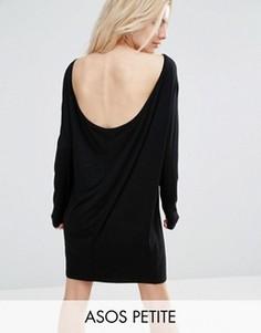Платье мини со свободной горловиной ASOS PETITE - Черный