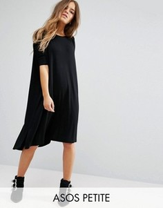 Платье-футболка кроя оversize с асимметричным подолом ASOS PETITE - Черный