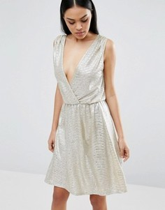 Платье миди с перекрестной отделкой спереди Pussycat London - Серебряный
