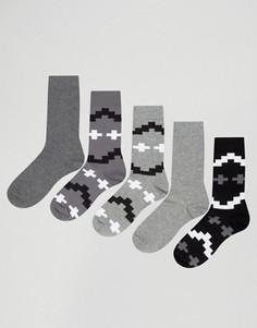 5 пар носков с ацтекским узором ASOS - Мульти