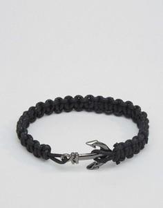 Веревочный браслет с якорем ASOS - Черный