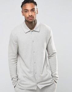 Пижамная рубашка из фактурной ткани с начесом ASOS - Серый