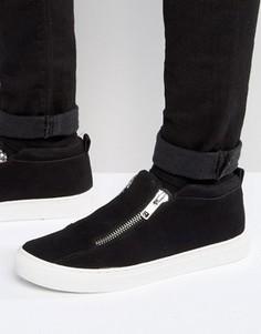 Черные кроссовки из искусственной замши на молнии ASOS - Черный