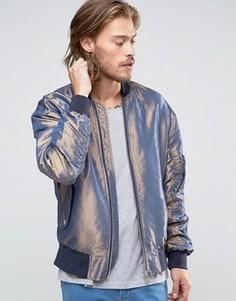 Синяя двуцветная куртка-пилот ASOS - Синий