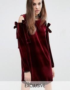 Бархатное платье с бантами Reclaimed Vintage - Красный