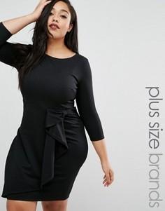 Платье-футляр с оборками Goddiva Plus - Черный