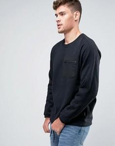 Свитшот с круглым вырезом и карманом Jack & Jones - Черный