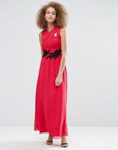 Платье макси с перекрестом и аппликацией Little Mistress - Красный