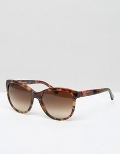 Солнцезащитные очки кошачий глаз в черепаховой оправе Emporio Armani - Коричневый