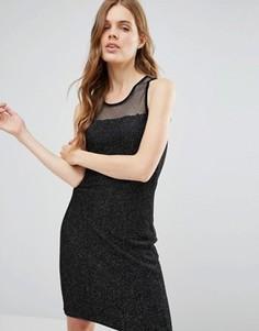 Платье миди с верхним слоем из сетки Jasmine - Черный
