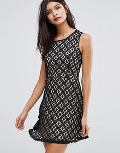 Короткое приталенное платье Pussycat London - Черный