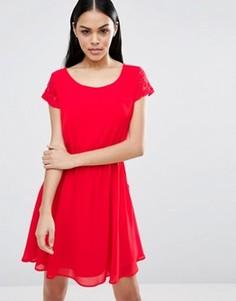 Короткое приталенное платье с карманами Pussycat London - Красный