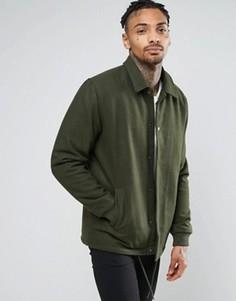 Полушерстяная спортивная куртка цвета хаки ASOS - Зеленый