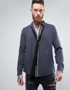 Темно-синяя вискозная рубашка классического кроя со съемным шарфом ASOS - Темно-синий