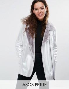 Удлиненная байкерская куртка металлик из искусственной кожи ASOS PETITE - Серебряный