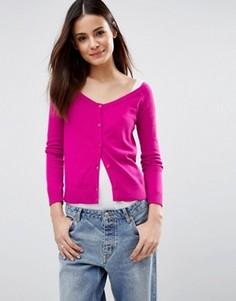 Тонкий трикотажный кардиган с приспущенными плечами ASOS - Розовый