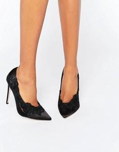 Туфли с заостренным носком и кружевом ASOS PURE - Черный