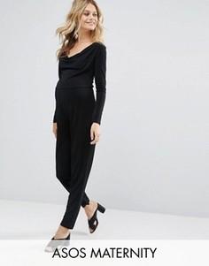 Трикотажный комбинезон со свободной горловиной и широкими брюками ASOS Maternity - Черный