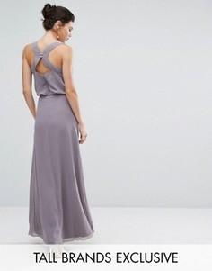Декорированное платье макси с открытой спиной Little Mistress Tall - Фиолетовый